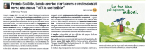 Premio BioStile, bando aperto_Vivere Sostenibile Luglio-Agosto 2015